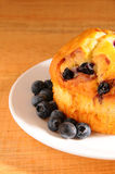Closeup Bluberry Muffin on White Plate Stock Photography