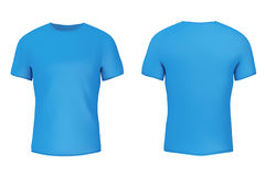 Closeup Blue Blank T-Shirt with Empty Space for Yours Design. 3d Stock Photos