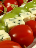 Closeup of blue cheese skewers. royalty free stock photos