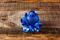 Closeup of blue  christmas ball with ribbon Stock Image
