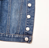 Closeup of a blue denim jacket. Texture Royalty Free Stock Image