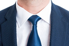 Closeup with blue elegant suit and necktie or tie Stock Photo