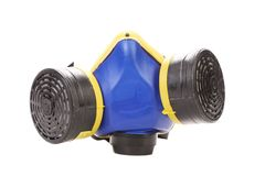 Closeup of blue gas mask. Stock Image