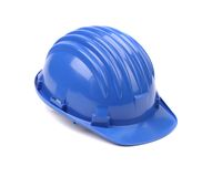Closeup of blue hard hat. Royalty Free Stock Image