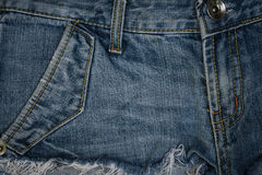 Closeup blue jean textured and background Royalty Free Stock Image