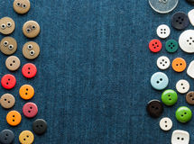Closeup blue jeans background with buttons. stock image