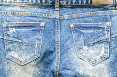 Closeup blue jeans denim texture and background Stock Photography