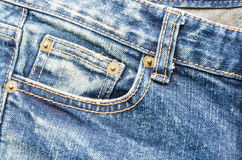 Closeup blue jeans denim texture and background Royalty Free Stock Image
