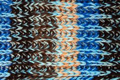Closeup of blue knitted wool texture Stock Images