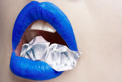 Blue lips with ice Stock Photography
