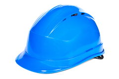 Closeup of blue protective helmet on white background Stock Image