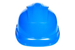 Closeup of blue protective helmet on white background Stock Images