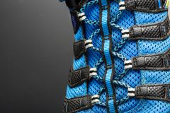 Closeup of  blue shoelaces on grey Stock Photography