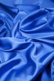 Closeup of blue silk cloth. Stock Photo