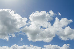 Closeup of blue sky with white clouds Royalty Free Stock Photography