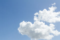 Closeup of blue sky with white clouds Stock Photos