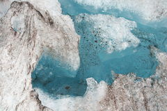 Closeup of blue water in a crevasse. A beautiful blue glacier in Alaska with its reflection in the icy sea Stock Image