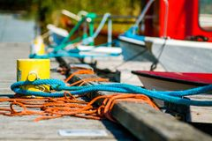 Closeup of boat cleat on a dock Stock Photography