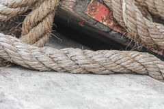 Closeup boat ropes Stock Photos
