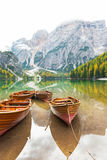 Closeup on boats on lake braies in south tyrol Royalty Free Stock Photos