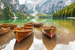Closeup on boats on lake braies in south tyrol Stock Photo