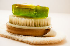 Closeup body brush soap and scrub glove Stock Image