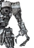 Closeup Body of metallic robot made from auto parts with machine. Ry gears bolts and nuts isolated on white background with clipping paths royalty free stock images