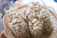 Closeup of boil peanut Thai style. In market royalty free stock photo