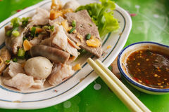 Closeup boil pork. With souce on blur background Royalty Free Stock Photo