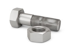 Closeup Bolt and Nut. On a white background Royalty Free Stock Photos