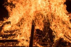 Closeup  bonfire at Jewish holiday of Lag Baomer Royalty Free Stock Photo