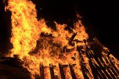 Closeup  bonfire at Jewish holiday of Lag Baomer Royalty Free Stock Images