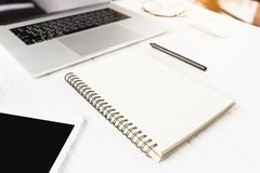 Closeup book blank on white workspace royalty free stock images