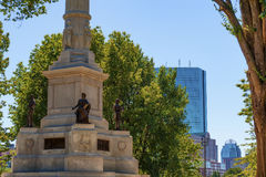 Closeup of Boston Commons Soldier`s and Sailor`s Monument. Boston, Massachusetts, USA - September 12, 2016: Closeup of Soldiers and Sailors Monument located in stock image