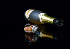 Closeup bottle, drop and cork Royalty Free Stock Photography