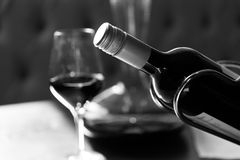 Closeup of the bottle of wine Stock Images