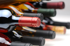 Closeup of the bottom side of wine bottles Royalty Free Stock Photos