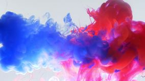 Closeup bottom up motion shoot of blue and pink watercolor ink splashing and mixing in a water stock footage