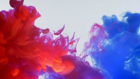 Closeup bottom up motion shoot of blue and red watercolor ink splashing and mixing in a water stock video footage
