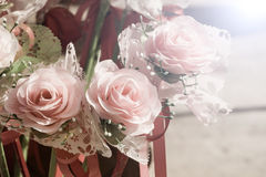 Closeup bouquet of colorful artificial roses, success concept, v Royalty Free Stock Image