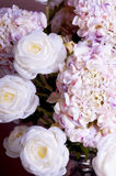 Closeup bouquet of roses and hydrangea Royalty Free Stock Images