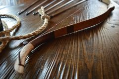 Closeup - bow with arrows Stock Photo