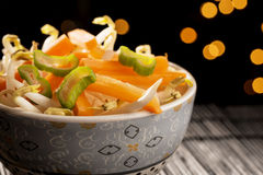 Closeup bowl with Asian vegetables Royalty Free Stock Photos