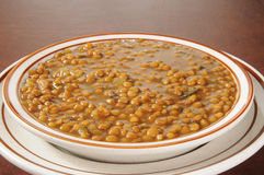 Closeup of a bowl of lentil soup Royalty Free Stock Image
