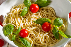 Closeup of a bowl of noodles and vegetables Stock Image