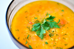 Closeup of a bowl of split pea soup with herbs and chiken. stock images