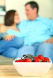 Closeup Bowl Of Strawberry With Two Fork Royalty Free Stock Photos