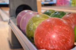 Closeup of bowling balls. stock photo