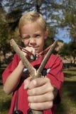 Closeup Of Boy Using Slingshot Stock Photos