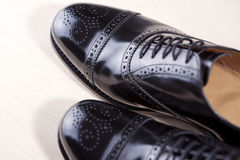 Closeup of Brand New Fashionable Male Classic Oxford Semi-Brogue Royalty Free Stock Image